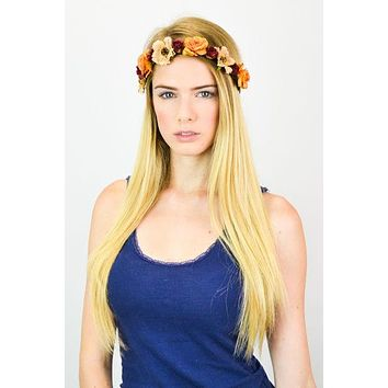 Bohemian Flower Crown Peach Burgundy Ivory Roses Floral Hair Wreath Hippie Gypsy