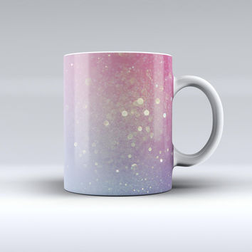 The Pink and Blue Shimmering Orbs of Light ink-Fuzed Ceramic Coffee Mug