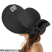 Monogrammed Floppy Natural Derby Hat with Flip Bow