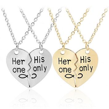 Her only His only heart necklace in silver and gold, couples necklaces