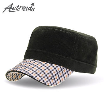 [AETRENDS] 2016 Winter Flat Military Hat Sailor Hats for Men Flat Captain Caps Z-3167
