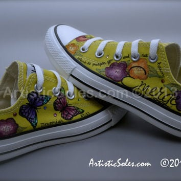 Butterfly Floral Custom Converse All Star Shoes - Low Top