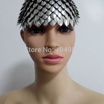 ac DCCKO2Q New Arrival B740 Women Sexy Silver Fish Scale Head Chains Jewelry Unique Design Fish Scale Hair Head Jewelry 2 Colors