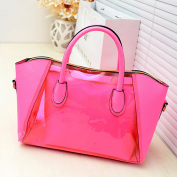 Shell bag women messenger bags new 2016 spring transparent jelly neon smiley shoulder bag crystal women bag