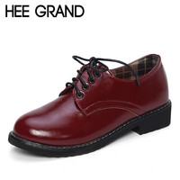 HEE GRAND 2016 Patent Leather Women Oxfords British New Spring Platform Flats Casual Lace-Up Ladies Brogue Shoes Woman XWD2530