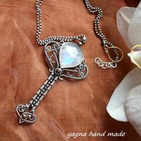 Sterling and Fine Silver Necklace/Pendant with Moonstone. Wirewrapped Pendant, Jewelry Art