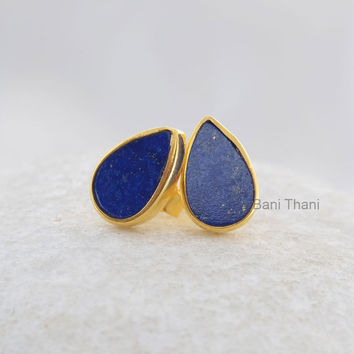 Natural Blue Lapis Pear 7x11mm Flat Stud Micron Gold Plated 925 Sterling Silver Earring Jewelry - #1685