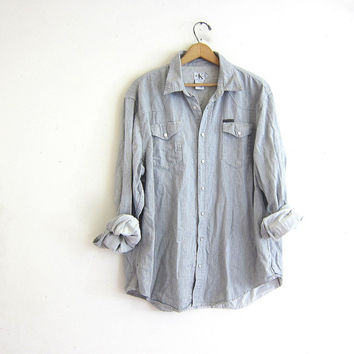 Vintage Gray cotton Shirt. Long Sleeve Shirt. Oversized Snap Up Boyfriend Shirt. Calvin Klein shirt