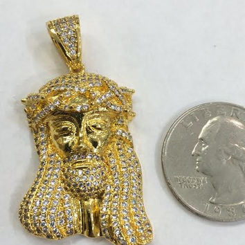 14k gold overlay Jesus Piece Pendant Mini Charm 925 Sterling Silver steel CZ Micro Pave Hiphop/a3