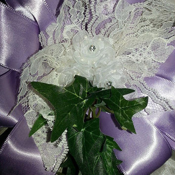 Gorgeous, full, professional looking pew bow with matching lace cone! Gorgeous set for your aisle decor!
