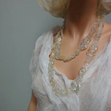 Vintage Button Necklace, CINDERELLA, Clear Cut Plastic Carved Buttons, Dramatically Long Statement