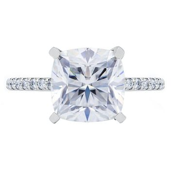 Cushion Hearts & Arrows Moissanite 4 Prongs Diamond Accent Ice Cathedral Solitaire Ring