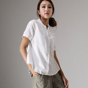 White linen blouse short sleeve tops (98611)