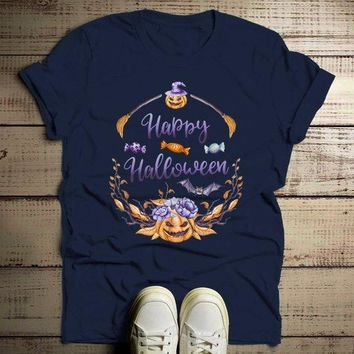 Men's Halloween T Shirt Pumpkin Wreath Watercolor Graphic Tee Happy Halloween Wreaths