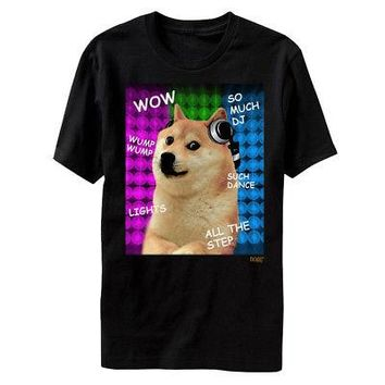 Doge Internet Dog Meme Wow So Much DJ Licensed Adult T-Shirt - Black - XL