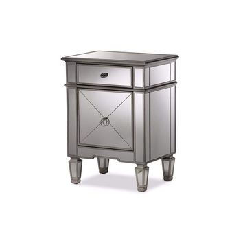 Claudia Hollywood Regency Glamour Style Mirrored Nightstand By Baxton Studio