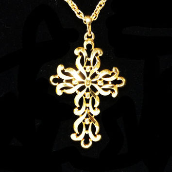 Trifari GoldTone Cross Pendant & Chain Necklace - Swirls and Curls - Designer Signed - Vintage Crown Trifari