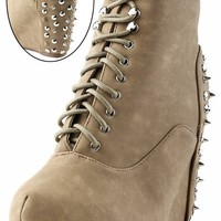 Vintage Berkeley02 Taupe Laced Spike Back Ankle Boots and Shop Boots at MakeMeChic.com