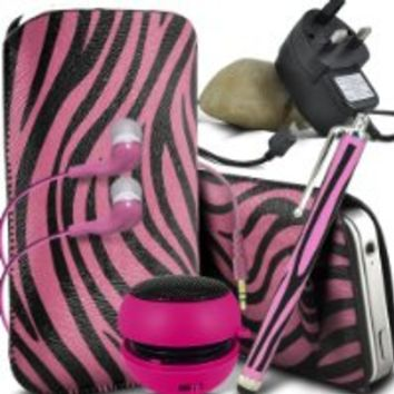 Fone-Case Alcatel One Touch Fierce (Hot Pink & Black) Protective Zebra PU Leather Pull Cord Slip In Pouch Quick Release Case With Mini Capacitive Stylus Pen, 3.5mm in Ear Earphones, Mini Rechargeable Capsule Speaker, Micro USB Ce Approved 3 Pin Mains Charg