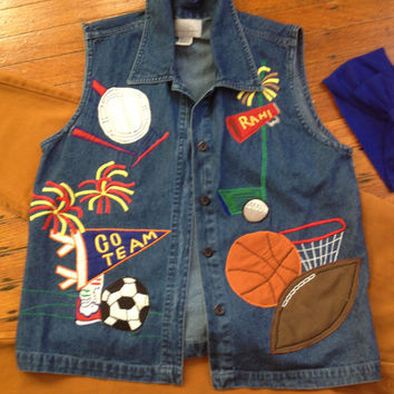Vintage Paul Harris Denim PHD Vest Sport Enthusiast Vest Football Vest Tailgating Vest Homecoming Denim Jean Vest size small