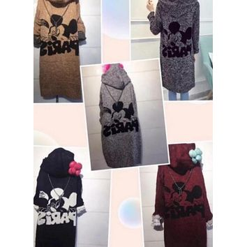 Mickey Mouse Hooded Sweater Knit Cardigan Jacket Coat