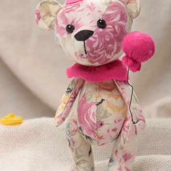 Handmade designer soft toy sewn of linen and felt Bear in pink color palette