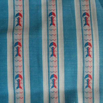 Vintage fabric, Blue and white stripes, red and blue mushroom pattern, sewing, quilting, fabric by the yard