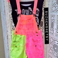 Rave Neon Short Overalls Pink Spray Dye Dungarees Lime Tropical Shortalls Size Small//SuzNews Etsy Store//