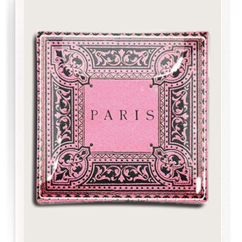 Paris Bibliotheque Pink Decoupage Glass Tray