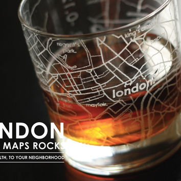 London Map Rocks Glass