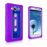 Soft Silicone Cassette Tape Skin Case for Samsung i9300 Galaxy S3 - Purple