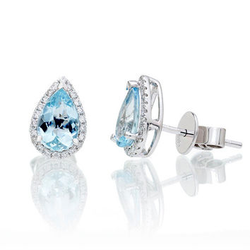 14 Karat White Gold 8x5mm Pear Cut Aquamarine Diamond Halo Solitaire Stud Earrings