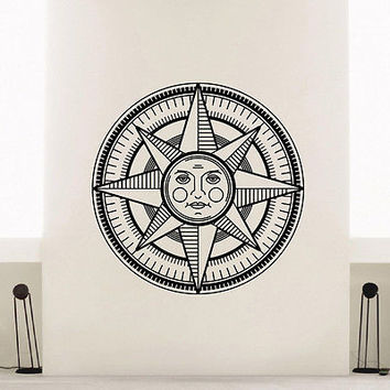 WALL DECAL VINYL STICKER WIND ROSE COMPASS SUN FACE TRAVEL GEOGRAPHY DECOR SB415