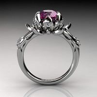 Nature Inspired 950 Platinum 2.0 Carat Oval Pink Sapphire White Diamond Lotus Flower Engagement Ring R1013-PLATDPS