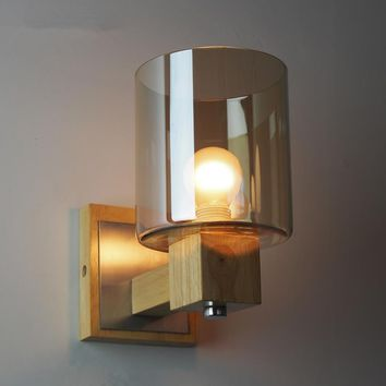 12 456 Vintage Loft Amber Glass Wall Lamp Bedroom Bedside Wall Sconce Wood luminaire Wall Light Fixtures bathroom light