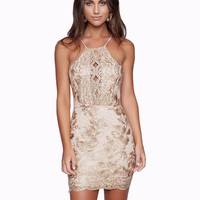 Simona gold lace dress