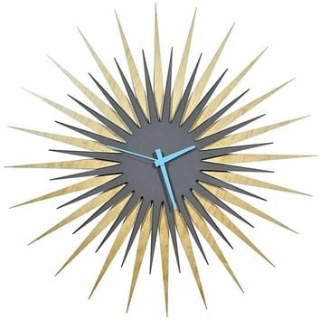 Atomic Era Clock - Maple Grey/Blue