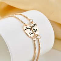 Partners in Crime BFF Friends 2 PC Charm Bracelet SET