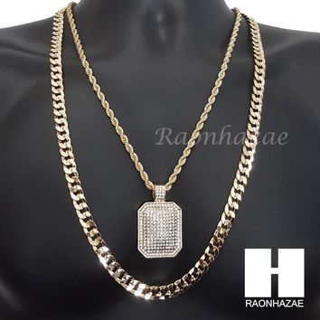 "ICED OUT DOG TAG CHARM ROPE CHAIN DIAMOND CUT 30"" CUBAN CHAIN NECKLACE SET G5"