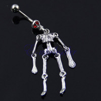 New Charming Dangle Crystal Navel Belly Ring Bling Barbell Button Ring Piercing Body Jewelry = 4804886788
