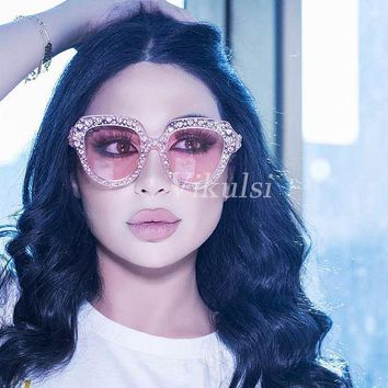 50325d2100 Luxury Heart-shaped Rhinestone Sunglasses Women Crystal Eyewear