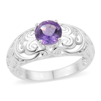 Amethyst Sterling Silver Solitaire Ring