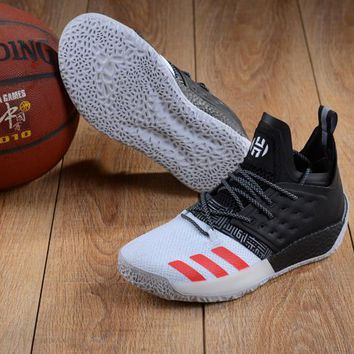 DCCK A146 Adidas James Harden Vol.2 Boost Training Basketball Shoes Black White Red