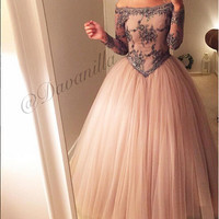 Hot Vintage Princess Long Sleeve Prom Dresses Puffy Ball Gown Off The Shoulder Special Occasion Dresses Free Shipping by Aramex