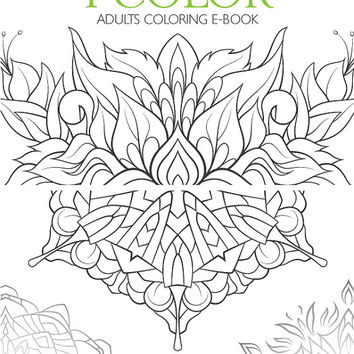 Adult coloring e-book 28 designs, flowers, mandalas, butterflies, therapy for stress, adult coloring pages and sheets, calm coloring