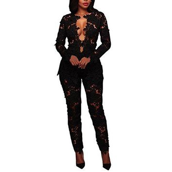 Joseph Costume Women's Sexy Floral Lace Blazer Long Sleeve Bodycon Two Piece Jumpsuit Rompers Clubwear