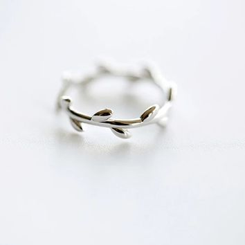 925 Sterling Silver tree branch ring, adjustable twig ring