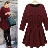 Double Pocket Long Sleeve Drawstring Dress