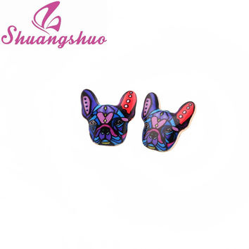 2016 New Fashion Colorful Animal Stud Earrings French Bulldog Earrings Puppy Dog Stud Earrings for Women OED046