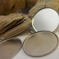10 PCS Silver Tone Brass Nickel Free Pendant Base Blank Findings with 20 mm Round Pad Cameo Setting-P-37